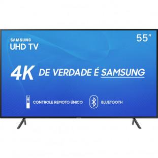 "TV LED SAMSUNG UHD 4K 55"" SMART 55RU7100 BT PRETA"